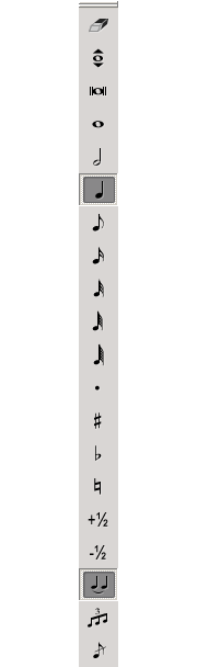Screen capture of toolbar with 20 buttons arranged vertically. A crotchet (6th from the top) and tie (18th from the tup) are highlighted.