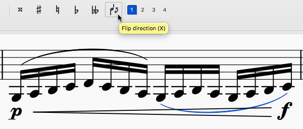 "Line of sheet music showing low notes slurred together and a crescendo hairpin. One slur has been flipped above the notes, while the other remains overlapping the hairpin. The mouse cursor is hovering over a button with a note being reversed, with a tooltip saying ""Flip direction (X)""."