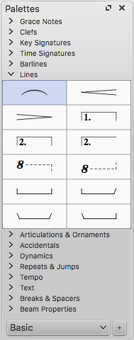 """Panel labelled """"Palettes"""" with many collapsible headings. Sixth from the top is the """"Lines"""" heading, which is expanded to show twelve musical line symbols. The first of these, a slur, is highlighted."""
