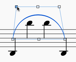 Sheet music showing a slur connecting two low notes, with two high notes in between. The slur is showing square control points, and the mouse is dragging one of the control points away from the notes.