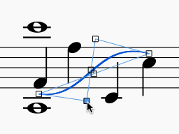 "Sheet music showing a slur curved into an ""S"" shape."
