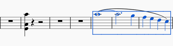 Sheet music showing three consecutive bars selected with a blue rectangle, and a slur along those bars.