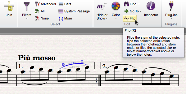 "Line of sheet music showing first and second time repeats, with a line of high notes slurred together just below. The mouse is hovering over a button labelled ""Flip""."