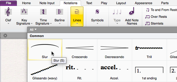"Screen capture of Sibelius showing the ""Notations"" tab selected, the ""Lines"" drop-down chosen and the mouse cursor hovering over the ""Slur"" tool. A tooltip showing ""Slur (s)"" has appeared."