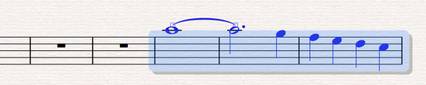 Sheet music with blue selection rectangle highlighting three consecutive bars.