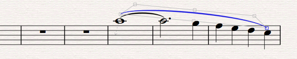 Sheet music with slur added along three consecutive lines.