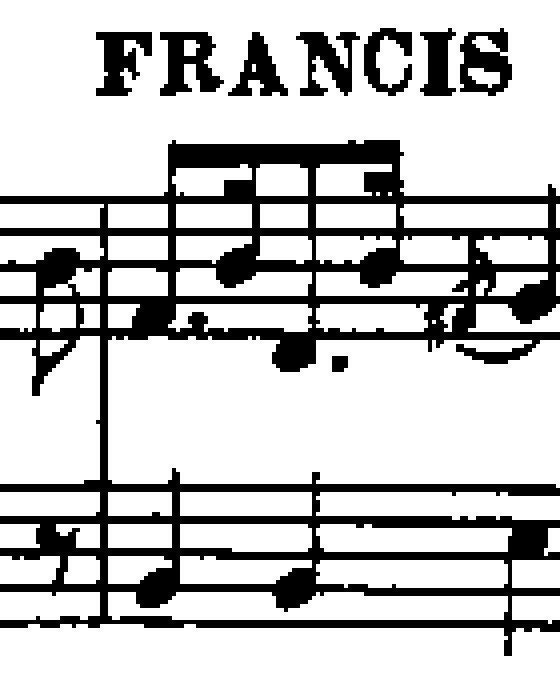 Fragment of sheet music in poor quality