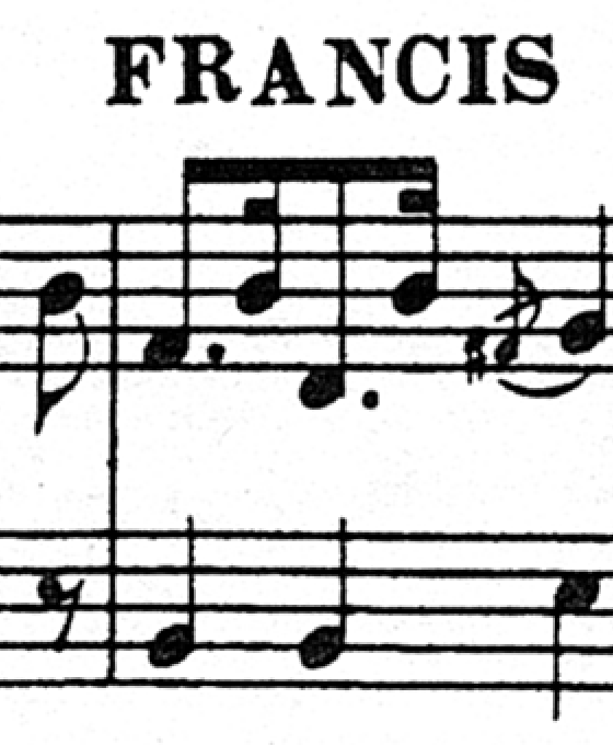 Fragment of sheet music in good quality with coloured fringes
