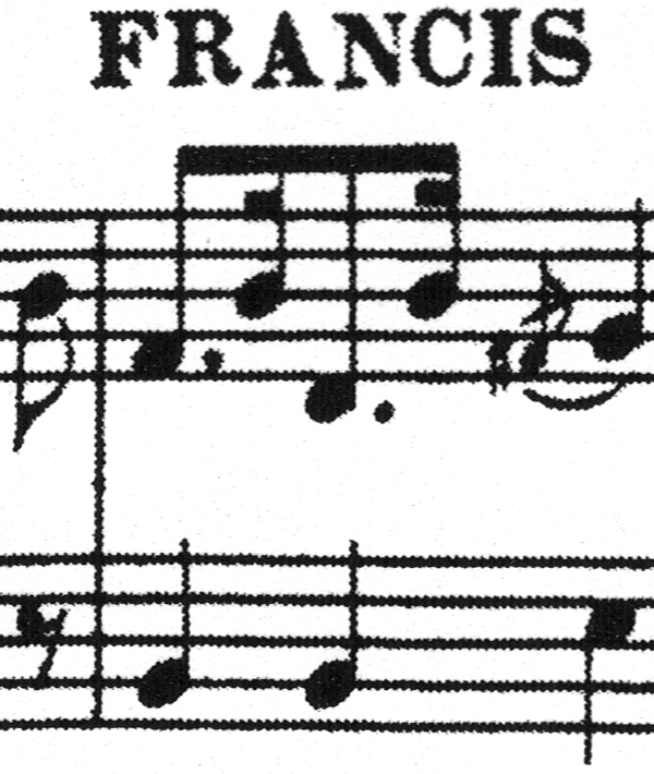 Fragment of sheet music showing stave and stem lines rippling